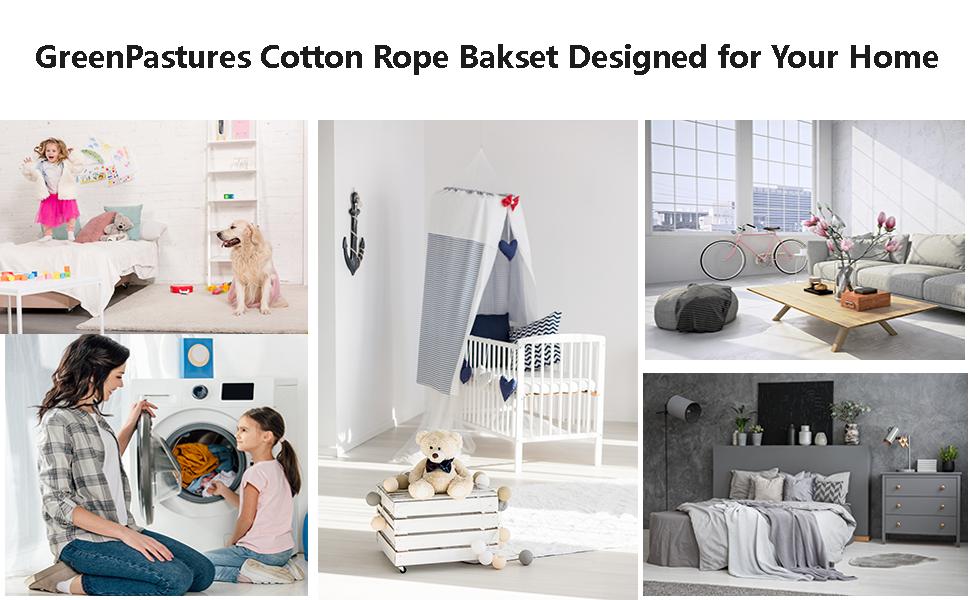 Cotton Rope Basket Laundry Room Nursery Room