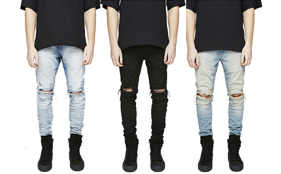 skinny ripped jeans men distressed black slim fit rip designer biker destroyed denim pants washed