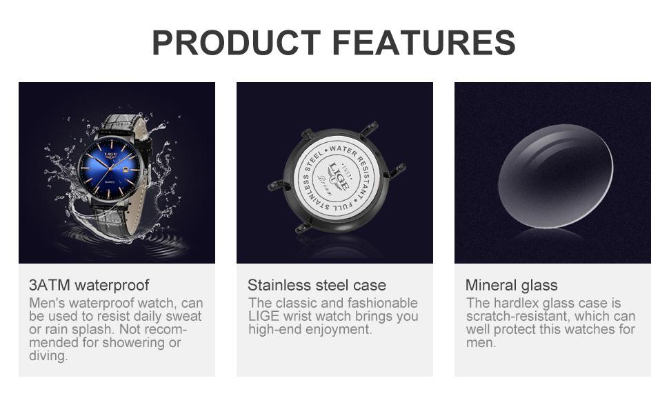 waterproof leather watch
