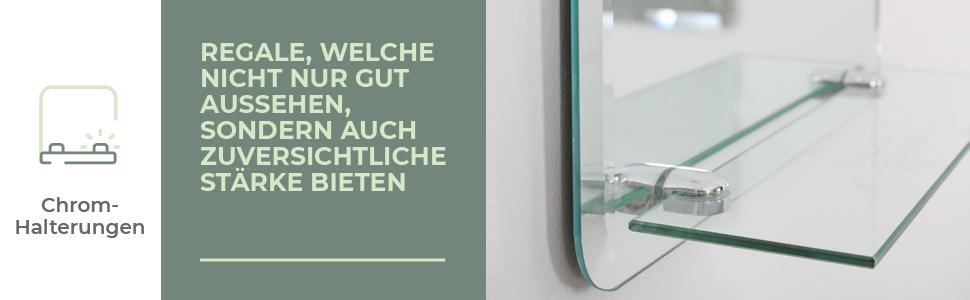 Mood Neue Design Badezimmerspiegel Wandspiegel mit Ablage rechteckig  Wandmontage Glas Facette Iowa