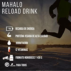 MAHALO RELOAD DRINK 450 g. Bebida recuperadora (Recovery) con Proteína vegana, Carbohidratos, Electrolitos, Vitaminas y Minerales para consumir ...