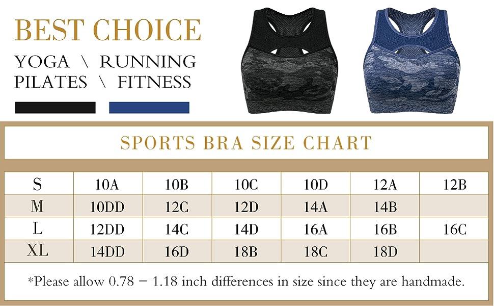 Women's Medium Impact Sports Bra Full Figure Wirefree Running Yoga Workout Bra Removable Pads