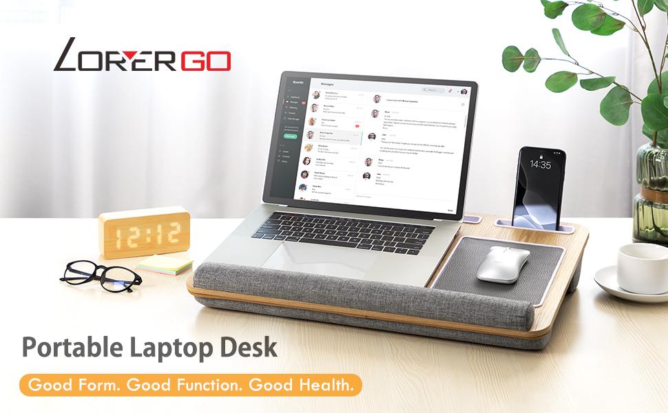 LORYERGO - Lap Desk with Storage Slot & Dual Cushion