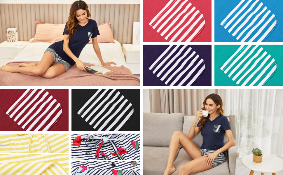 Womens Stripe Pajamas Short Sets Short Sleeve Two Piece Sleepwear Soft Pj Shorts Set Nightwear