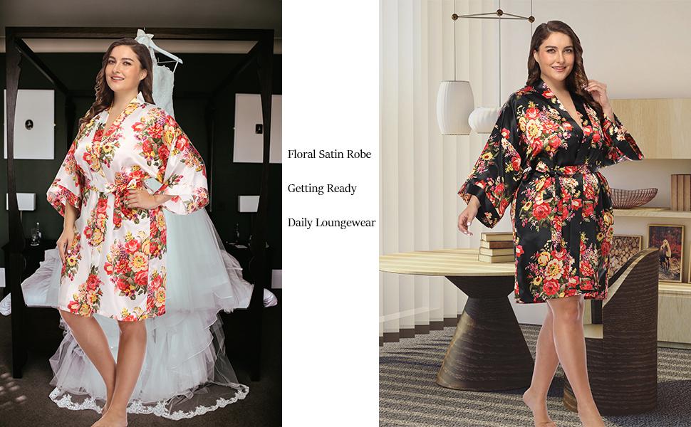 plus size robe for women satin short robe wedding kimono for bridal party sleepwear bridesmaid bride