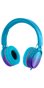 blue headphones, foldable headphones