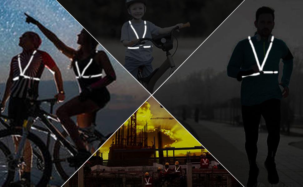 Aykrm Reflektoren Joggen Blau Warnweste Fahrrad Reflektorweste Joggen Sicherheitsweste Einstellbar Leicht Für Laufen Motorrad Running Reflektierende Für Erwachsene Kinder Blau Sport Freizeit