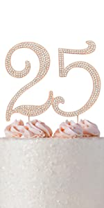 25 cake topper 25th anniversary cake topper 25th birthday cake topper rose gold 25th party supplies