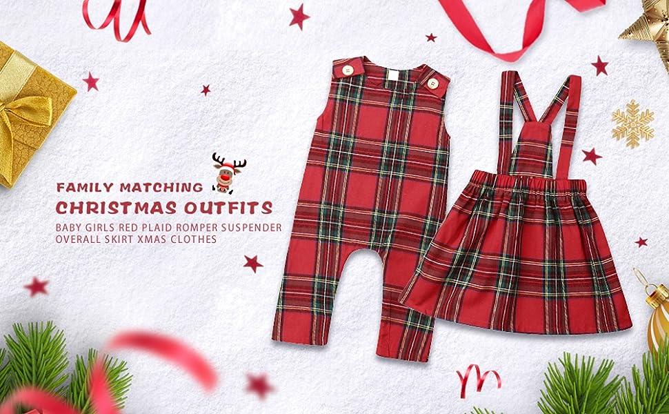 Xmas Toddler Kids Baby Girl Christmas Shirt Plaid Skirt Outfits Set Clothes UK