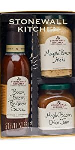 Stonewall Kitchen Gift Basket Bacon Maple Jam Aioli BBQ Sauce Gift Set