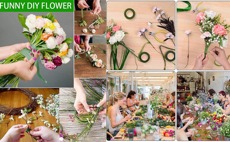 Coolty Kit darrangement floral bandes florales et bandages floraux Vertban flo Rural 22 Guage Tige florale Fil 26 Guage Vert pour Bouquet Potence Fleuriste