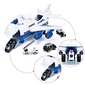 Police Airplane Play Vehicle Set for Kids Gifts