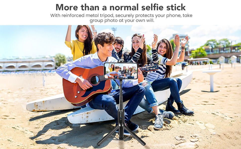 blitzwolf lightweight aluminum extendable selfie stick tripod with detachable wireless remote