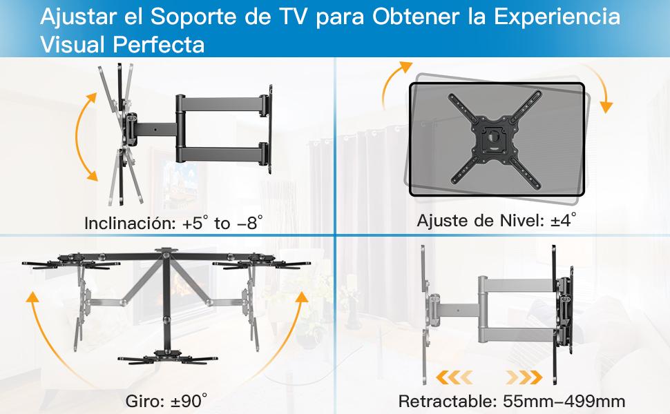 Soporte TV Universal Giratorio Inclinable y Extensible – Montaje ...