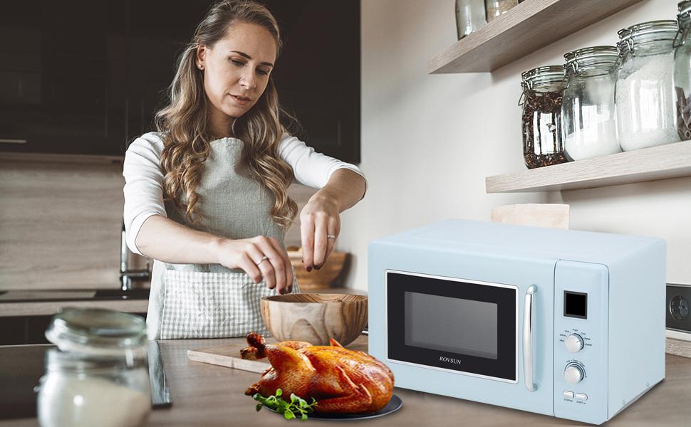 rovsun retro countertop microwave oven