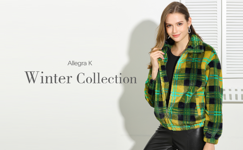 Allegra K Women's Fall Winter Zip Pocket Plaid Teddy Jacket Faux Fur Fluffy Coat