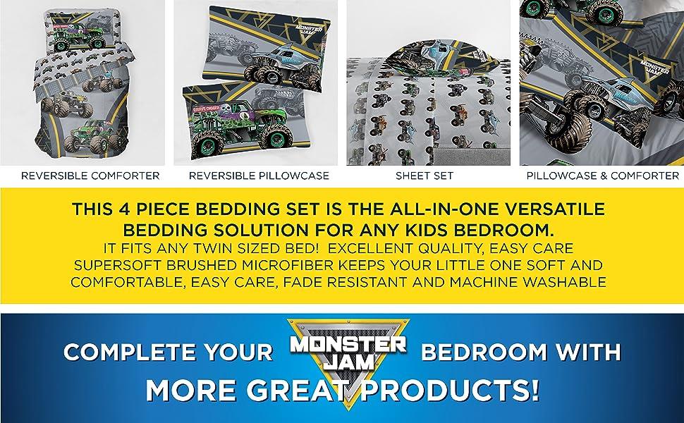 Monster Jam, Bed Set, Sheet Set