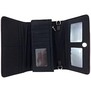 black wallet interior card holder bill fold slip pocket