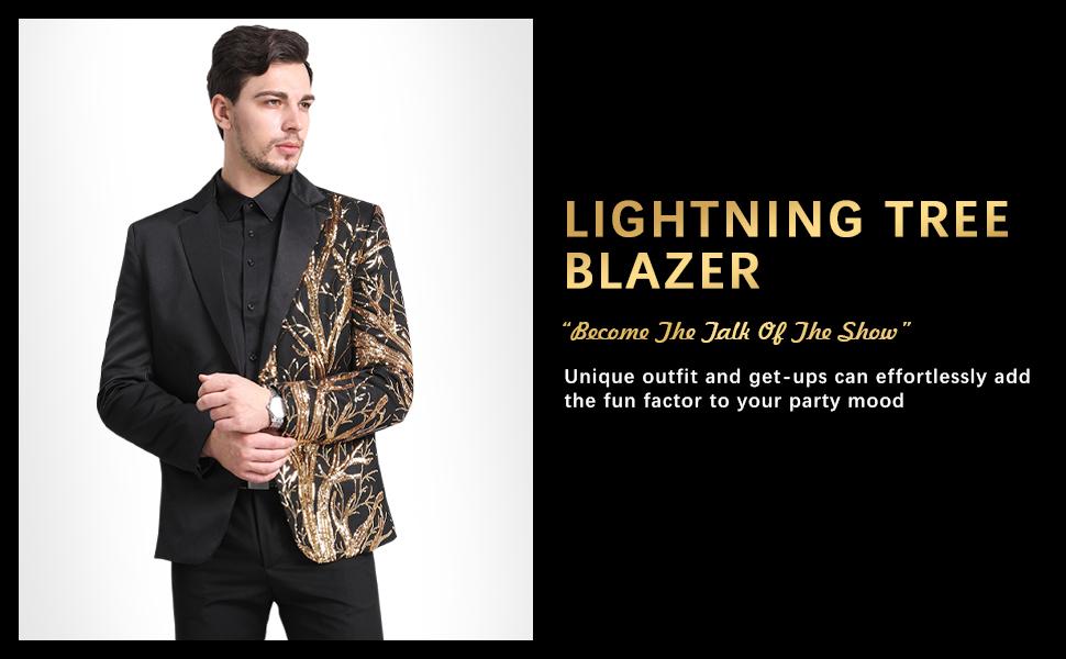 Mens Stylish Dinner Tux Dress Blazer Gold Sequin Slim Fit Suit Jacket Sport Coat