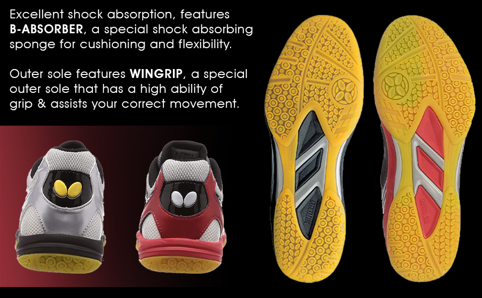 GIGU Shoes offer B-ABSORBER for excellent shock absorption and WINGRIP for excellent Grip