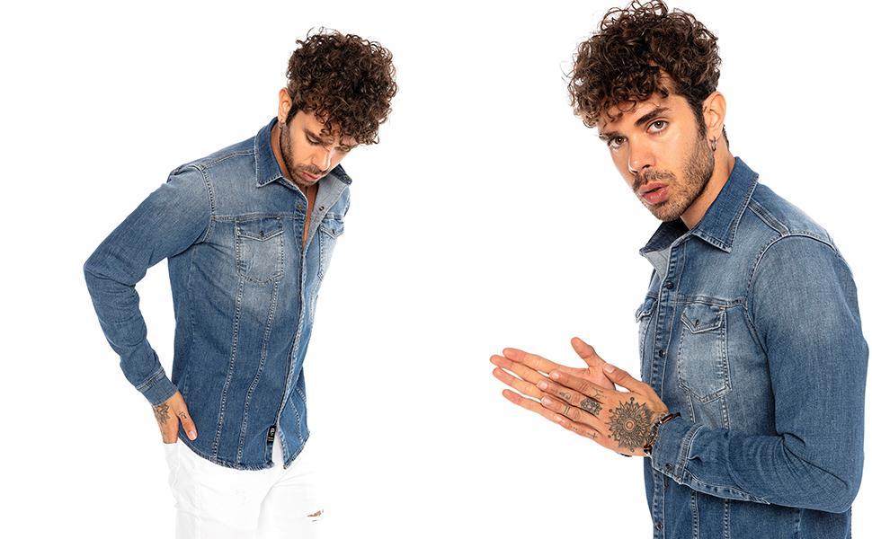 Camisa de Jeans Vaquera Denim para Hombre Manga Larga Azul