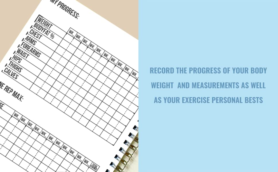 RECORD PROGRESS BODYWEIGHT MEASUREMENTS PERSONAL BEST EXERCISE ONE REP MAX NEW GOALS ACHIEVEMENTS