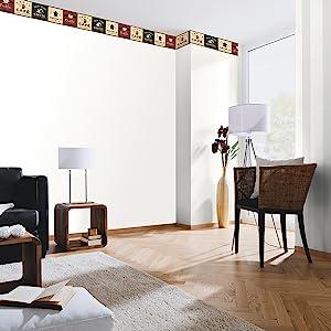living room wallpaper border wall decor salon dining area