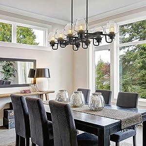 "8-Light Kitchen Island Pendant Light 36"" Industrial Linear Chandelier Black Clear Glass"