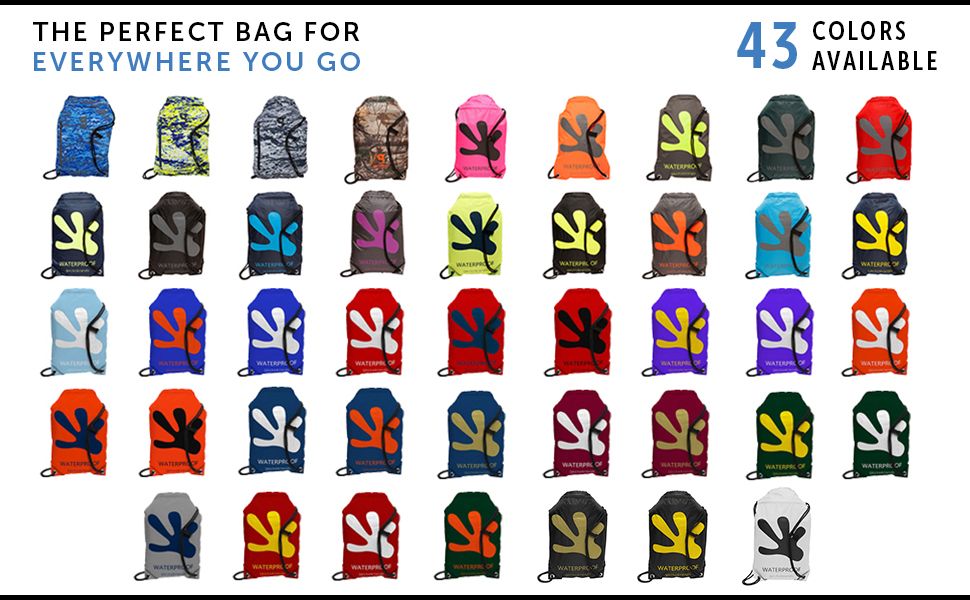 geckobrands waterproof drawstring backpack colors available