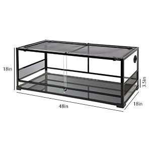 Amazon Com Repti Zoo 67gallon Reptile Large Terrarium Upgrade Glass Front Opening Tank Sliding