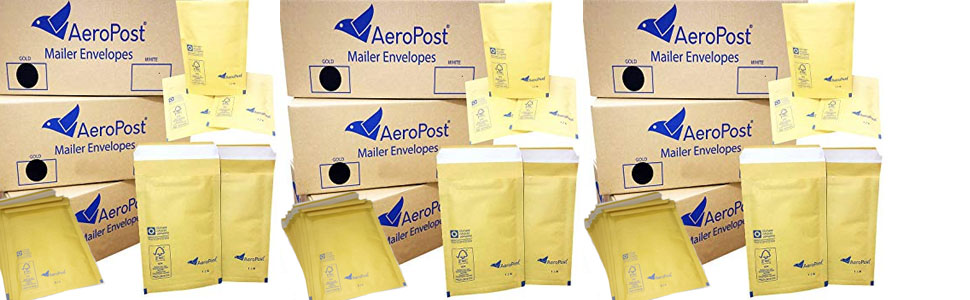 All Sizes Mailing and Shipping Bubble Envelopes Gold Bubble Mailers UK Made STAR SUPPLIES/® Aeropost Gold Padded Mailing Envelopes 100 Pieces