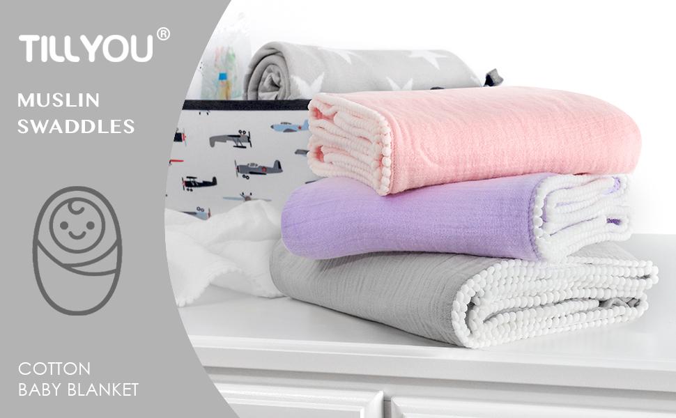 muslin swaddle cotton baby blanket with pom pom trim