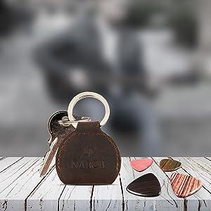 magnetic music musicians retro wallet travel hide carrier embossing stick pocket wooden fur brown