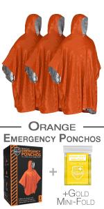 """Lot de 3 Urgence Poncho 50/""""X 80/"""" Léger Réutilisable-Couleur Orange"""