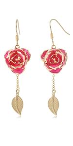 pink Blue Rose Earrings Jewelry Dangler Eardrop Studs