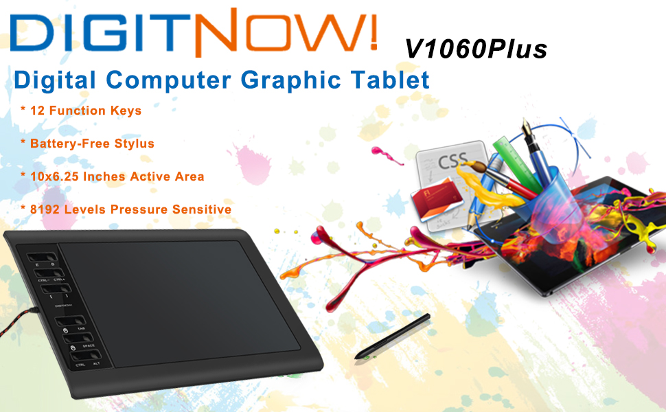 8192 Levels Pressure Sensitive Digital Graphics Drawing Tablets,10 x 6.25 Inch Ultrathin Computer Drawing Pen Display Tablet with Battery-Free Stylus /& 12 Shortcut Keys DIGITNOW