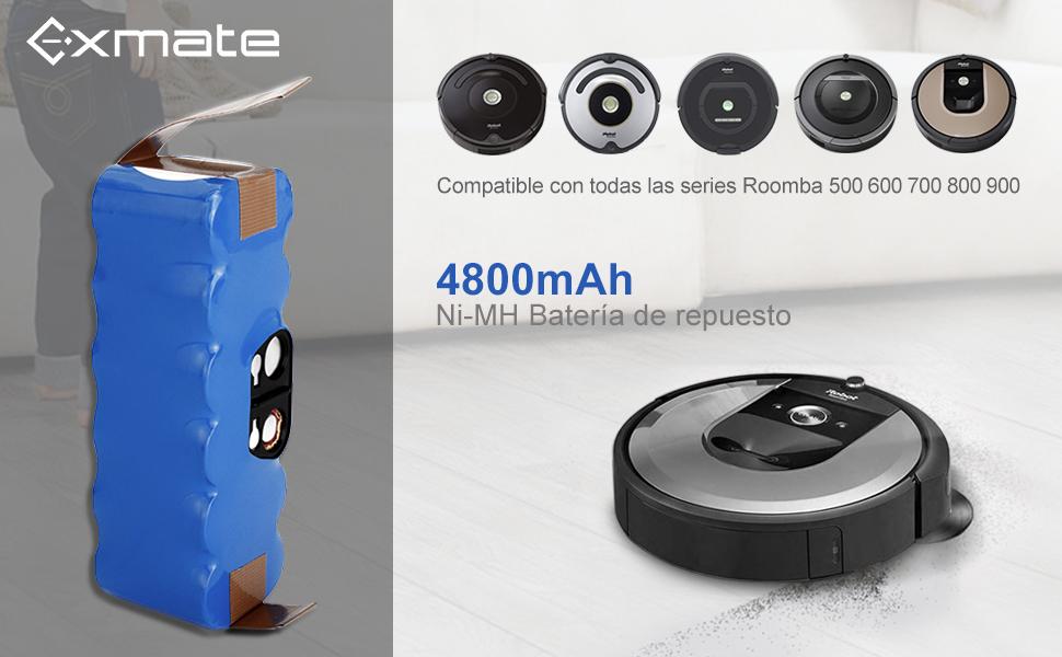 Exmate 4.8Ah Xlife Batería para iRobot Roomba, 14.4V 4800mAh Vida ...