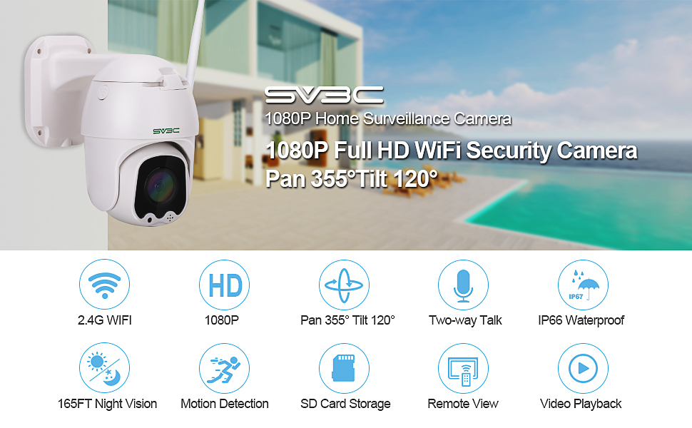 1080p hd security camera outdoor surveillance camera 2.4g wifi camera audio camera pan tilt onvif