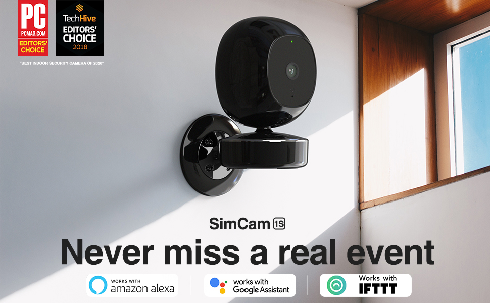 simcam 1s ai security camera works with alexa and google, ifttt
