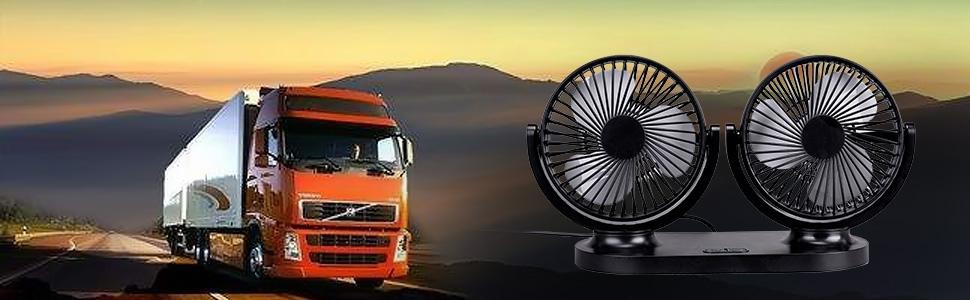 Doble Cabeza 360/° Rotaci/ón 3 Velocidades Ventilador Portatil Adecuado para Coche//Mesa//Oficina//Camping//La Pesca etc Wakana Ventilador USB Coche Mini Ventilador Silencioso 12V