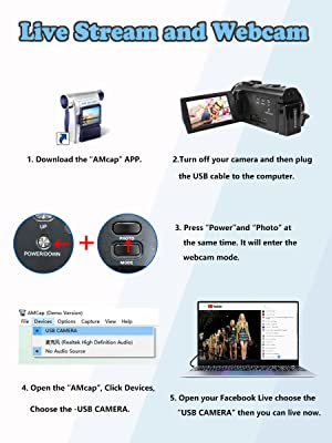 webcam  Video Camera Camcorder with Microphone, VideoSky 42MP HD 1080P 30FPS Digital Recording Camcorders for YouTube 64 GB Memory Card Vlogging IR Night Webcam Time-Lapse Slow Motion,Touch Screen, Lens Hood f66e1c15 c95f 40b2 a8cc ec6dd05cccfd