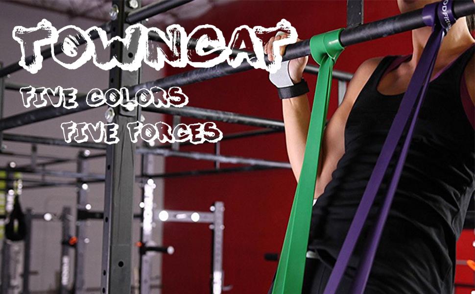 TownCat 5PCS Resistance Band Pull Up Assist Band Banda de Fitness de látex Hombres y Mujeres, Gimnasio en el hogar, Fisioterapia