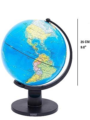 Exerz Educational World Globe Swivel Rotating Globe Dia 25cm Large 25cm