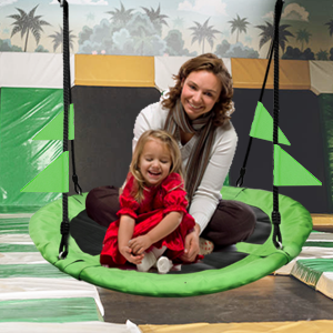 Fabric Saucer Spinner Swing Fun! Easy Install on Swing Set or Tree, Nylon Rope Padded Steel Frame