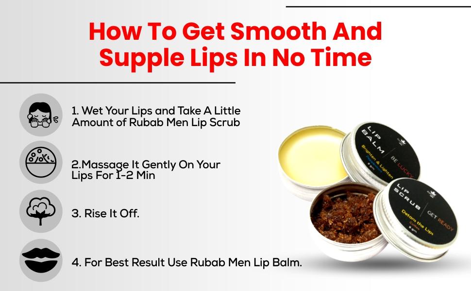 B08GQCFS5W RUBAB MEN Lip Lightening Lip Scrub and Lip Care Lip Balm Combo - SPN-FOR1