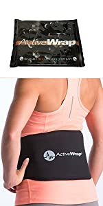 Hot cold therapy support for lower back pain and injury. One large reusable gel pack included.