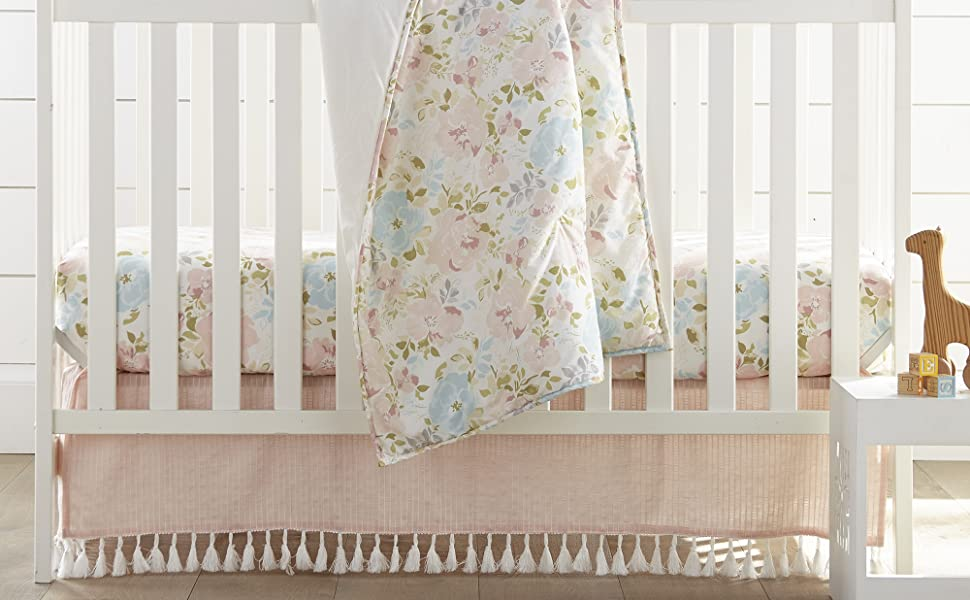 Amelia baby bedding blush and teal floral nest and nod levtex baby crib set