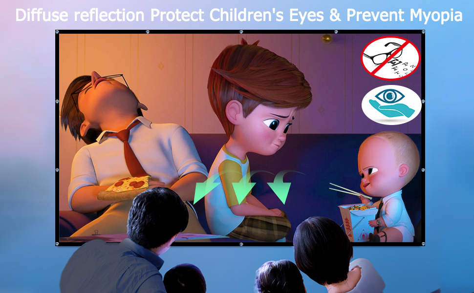 Videochars Projection Screen to Protect Eyes