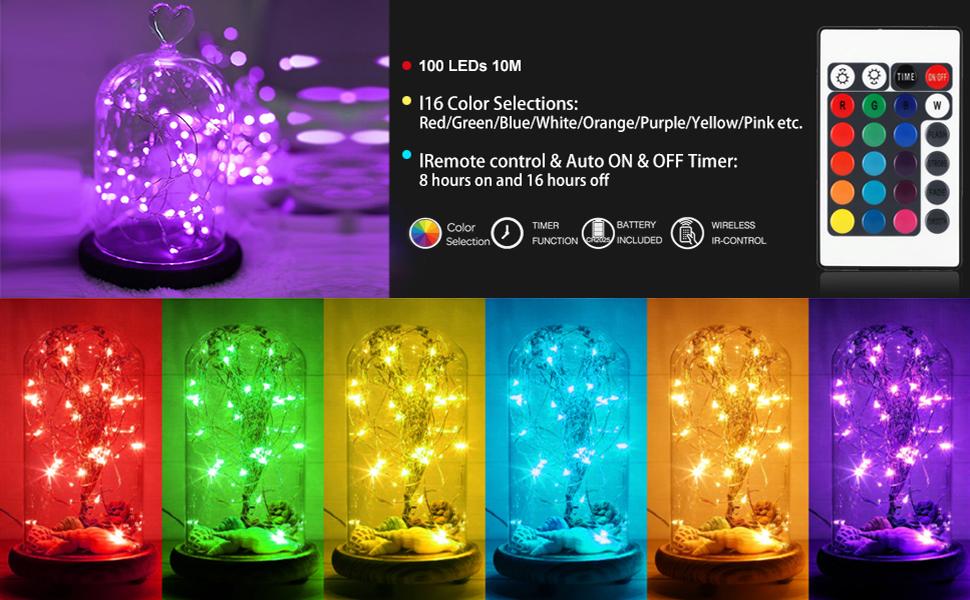 Guirlandes lumineuses LED bicolores en fil de cuivre guirlandes lumineuses avec t/él/écommande 33 FT 100 LEDs Blau//Warmwei/ß