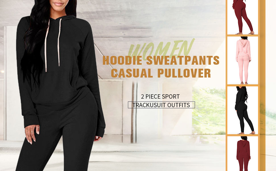 Women Pullover Sweatpants Long Sleeve Sport Outfits Jogger Sweatsuit